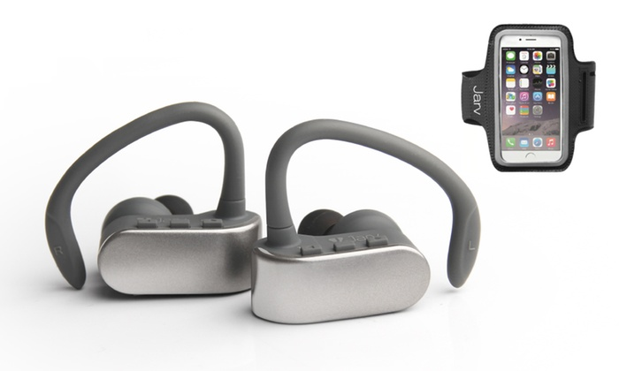 jarv nmotion free true wireless bluetooth sport stereo earbuds groupon. Black Bedroom Furniture Sets. Home Design Ideas