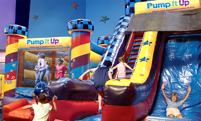 Pump It Up - Multiple Locations: $25 for Five Pop-In Playtime Passes at Pump It Up, The Inflatable Party Zone (Up to $50 Value). Choose from Nine Locations.
