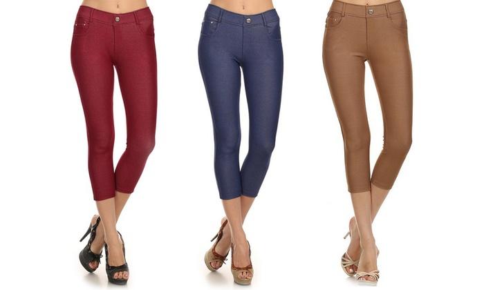 Women's 5-Pocket Capri Jeggings (3-Pack)