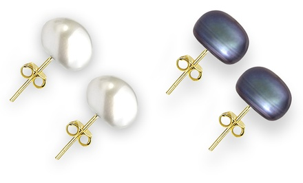 Genuine 7.5–8mm Freshwater Pearl Stud Earrings in 14K Gold