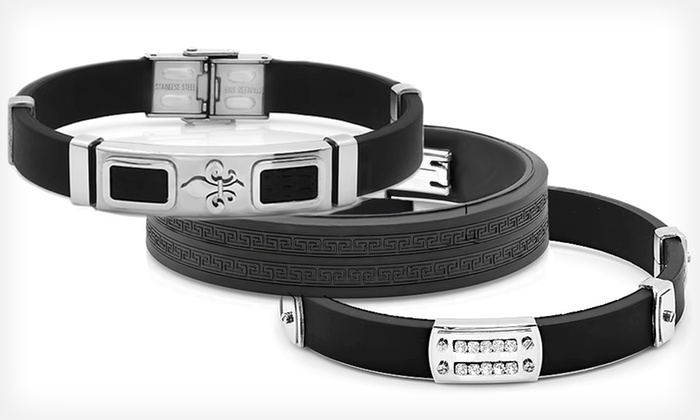 Men's Stainless Steel and Rubber Bracelets: $9.99 for a Men's Stainless Steel and Rubber Bracelet ($100 List Price). Multiple Styles Available.