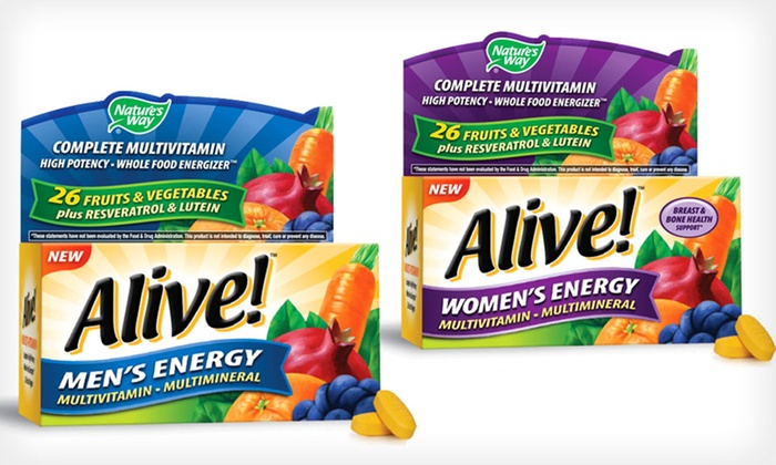 Nature's Way Alive! Multivitamins: 2-Pack of Nature's Way Alive! Energy Multivitamins for Men or Women; 100 Tablets Total. Free Shipping.