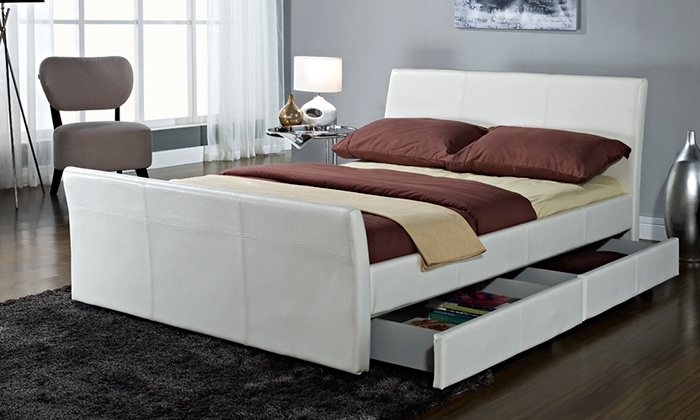 Estructura de cama dresden groupon goods - Estructura cama cajones ...