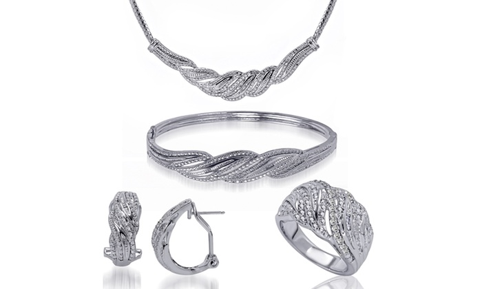 1 CTTW Diamond 4-Piece Jewelry Set: 1 CTTW Diamond 4-Piece Jewelry Set with Bangle, Earrings, Necklace, and Size 7 Ring. Free Returns.