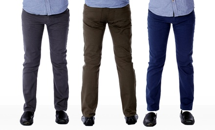 Red Snap Men's Stretch Skinny Twill Pants. Multiple Colors Available.
