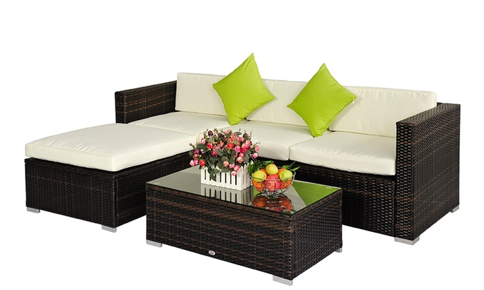 Rattan effect garden furniture groupon goods for Garden furniture deals