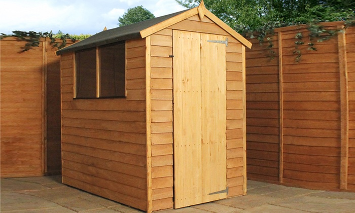 Superb ... Groupon Goods Global GmbH: Overlap Apex Wooden Garden Shed In Choice Of  Size From £