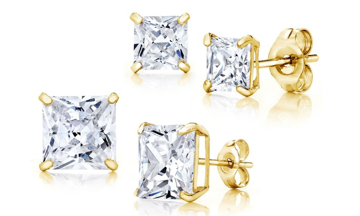 83d1e7cf0 14K Solid Gold Princess Cut Stud Earrings Made with Swarovski Crystals