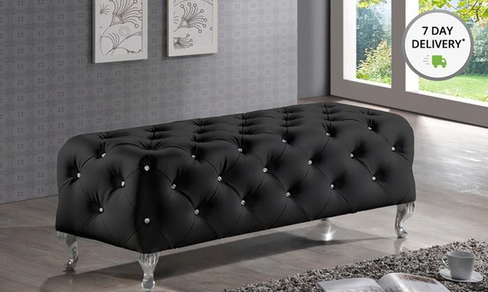 Baxton Studio Stella Crystal-Tufted Black Bench: Baxton Studio Stella Crystal-Tufted Black Bench. Free Shipping.