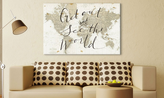 World maps on canvas groupon goods 26 x 18 and 40 x 26 world maps on gallery wrapped gumiabroncs Image collections