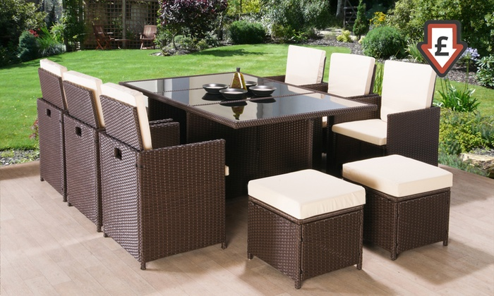 Rattan garden furniture set groupon for Garden furniture deals
