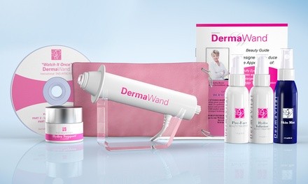 DermaWand Kit with Four Skincare Creams and a Pink Travel Case