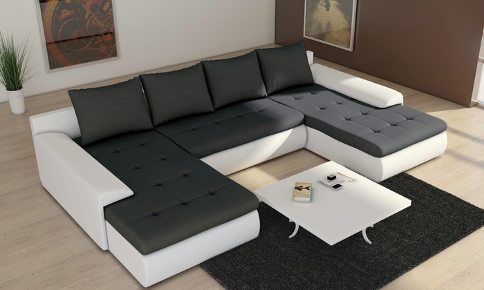 canap avec chaise longue ou u groupon. Black Bedroom Furniture Sets. Home Design Ideas