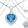Heart Shaped Genuine Topaz and Amethyst Pendants