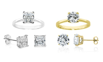 Solitaire Ring and Earring Set with Swarovski Elements