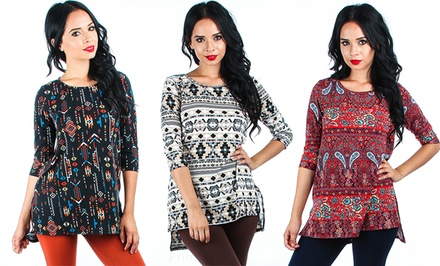 Women's Printed Tunic Top. Regular and Plus Sizes Available.