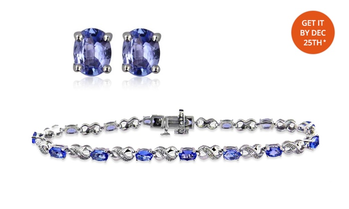 Genuine Tanzanite Bracelet with Free Stud Earrings: Genuine Tanzanite Bracelet with Free Stud Earrings. Free Returns.
