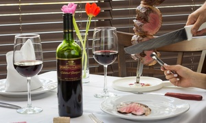 Steak Brasil Churrascaria: All-You-Can-Eat Brazilian Steak Dinner with Wine for Two or Four at Steak Brasil Churrascaria (Up to 48% Off)