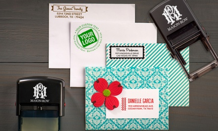 Custom Rectangular or Square Self-Inking Stamp or a Personalized Trio Stamper from Mason Row (Up to 56% Off)