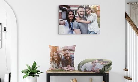 Lienzo, puzzle, cojín o manta personalizada para día del Padre y Madre con Photo Gift (hasta 96% de descuento)