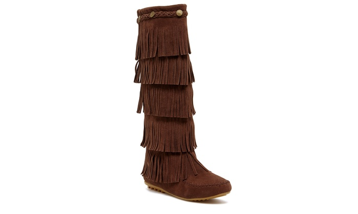Shoes of Soul Women's 5-Layer Fringe Boots (Size 11) | Groupon