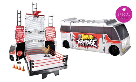 WWE Rumblers Transforming Tour Bus Play Set with The Rock Figurine.