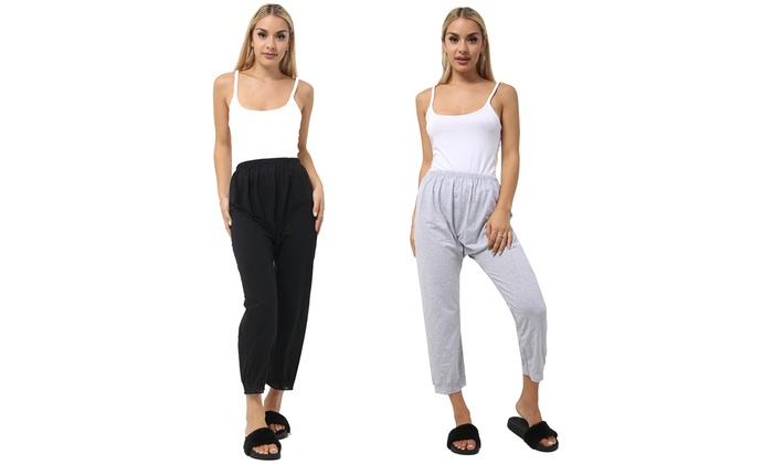 Two-Pack of Women's Cropped Lounge Trousers from £7.99