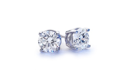 Sterling Silver 2-CTTW White Topaz Stud Earrings