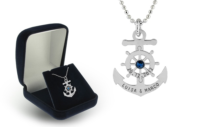 SilvexCraft Design: Engraved Anchor Necklace in Sterling Silver with Swarovski Elements from SilvexCraft Design