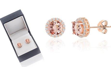 3.44 CTTW Morganite Cubic Zirconia Stud Earrings in Sterling Silver