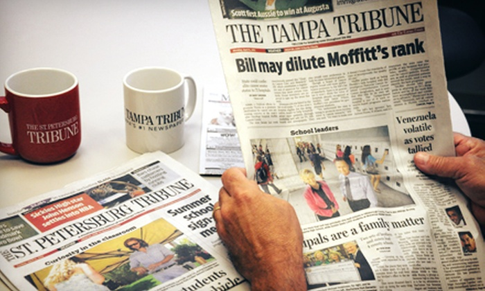 "The Tampa Tribune - Tampa Bay Area: 52-Week Digital or Home-Delivery Subscription to ""The Tampa Tribune"" or ""St. Petersburg Tribune"" (Up to 78% Off)"