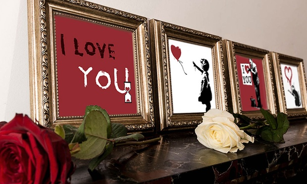 Personalised Banksy Inspired Valentines Day Prints: Regular ($14) or Large ($20) (Dont Pay $60)