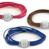 Multi Strand Leather Bracelet with Crystal Encrusted Magnetic Clasp