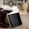 Ivory Bonded-Leather Four-Tray-Top Storage Ottoman