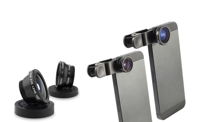 Clik2buy - Merchandising (AE): Universal 3 in 1 FishEye, Macro & Wide Angle Lens Kit for Smart Phones and Tablets for AED 29 (85% Off)