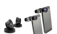 Two Universal Three-In-One FishEye, Macro & Wide Angle Lens Kits for Smart Phones and Tablets for AED 49 (84% Off)