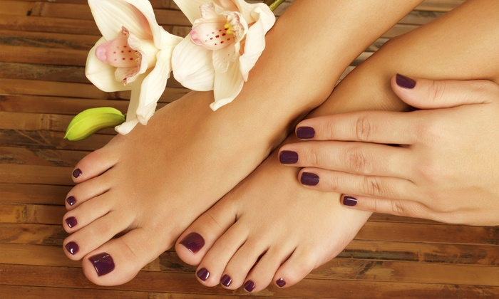 Jin Town Nails - Ossining: One or Three Spa-Manis and Spa-Pedis at Jin Town Nails (Up to 48% Off)
