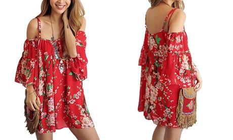 1, 2 o 3 vestidos Laila con estampado floral y los hombros descubiertos