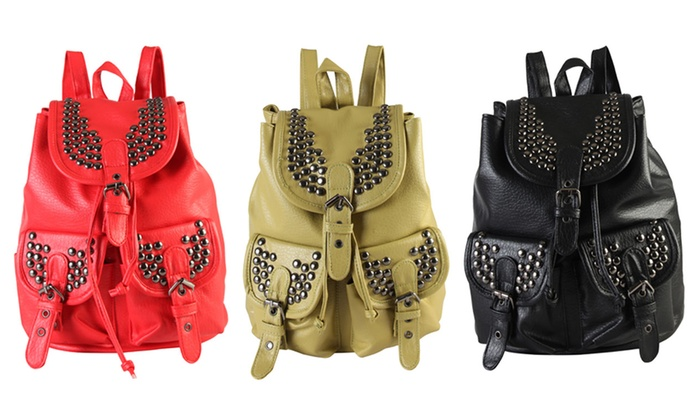 Diophy Women's Studded Front-Pocket Backpack