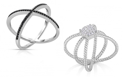 1/4 CTTW Black or White Diamond X Ring in Sterling Silver