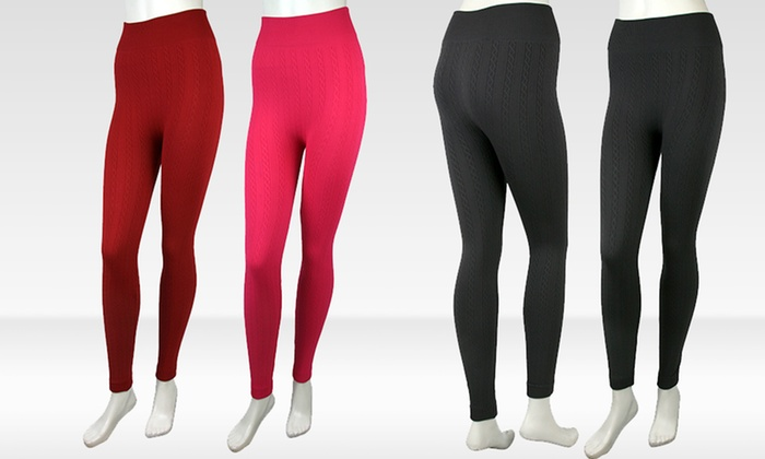 Cable Knit Footless Fleece Tights: Cable Knit Footless Fleece Tights. Multiple Colors Available. Free Shipping.