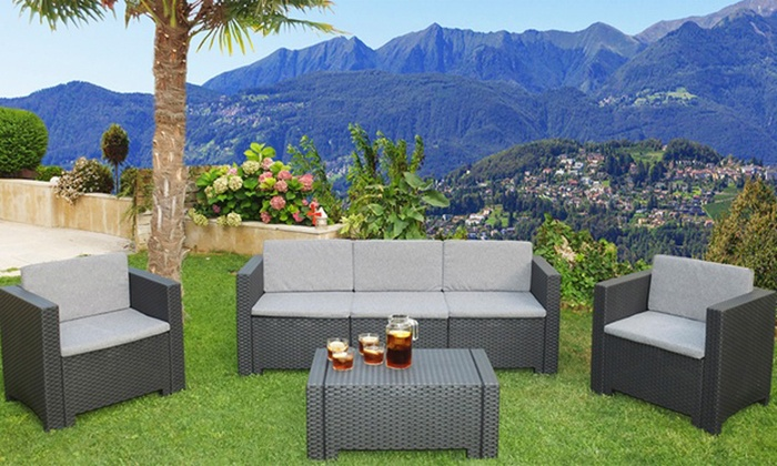 Salon de jardin 4 ou 5 places groupon - Salon de jardin 4 places resine tressee ...