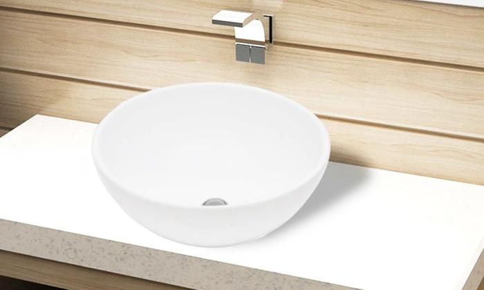 Groupon Goods Global GmbH: Vasque d'évier en céramique blanc