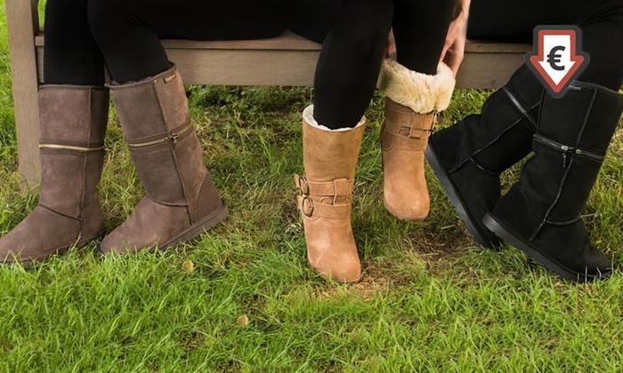 Groupon Goods Global GmbH: Redfoot Lammfell Boots im Modell nach Wahl in Schwarz, Schokolade oder Tan