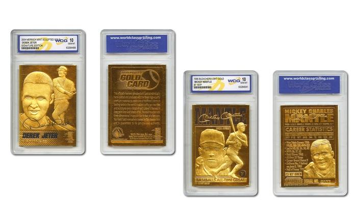 Derek Jeter/Mickey Mantle Gold Foil Baseball Cards - Graded 10 (2-Pack)