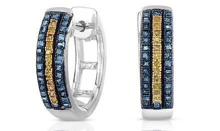 1/3 CTTW Blue and Yellow Diamond Hoop Earrings in Sterling Silver