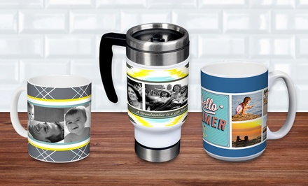 11-or 15 Oz. Custom Ceramic Mug, or 13 Oz. Custom Stainless-Steel Travel Mug from York Photo (Up to 55% Off)