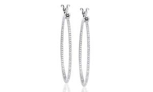 Diamond Accent Hoop Earrings in 18K White Gold at Diamond Accent Hoop Earrings in 18K White Gold, plus 6.0% Cash Back from Ebates.