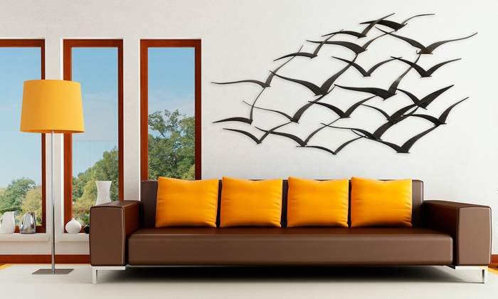 Bird Metal Wall Art flock of birds metal wall art | groupon goods