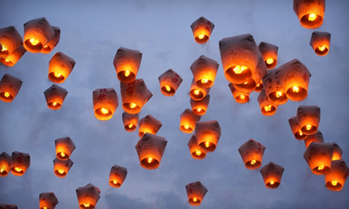 Spirit of '76 Fireworks - Columbia: 10 Regular or Heart-Shaped Sky Lanterns at Spirit of '76 Fireworks (Half Off)